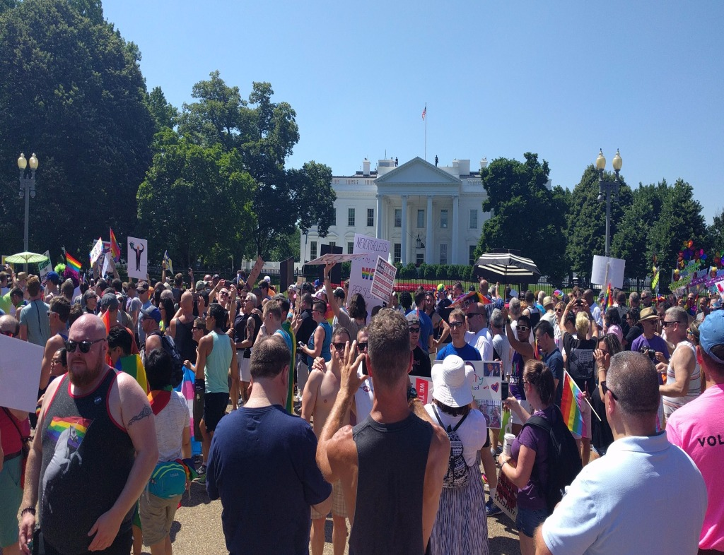 Protestors outside the White House Mansion during the Equality March for Unity and Pride. The sky is blue and cloudless, and people are holding signs and wearing clothes in honor of LGBTQ and Gender Rights.