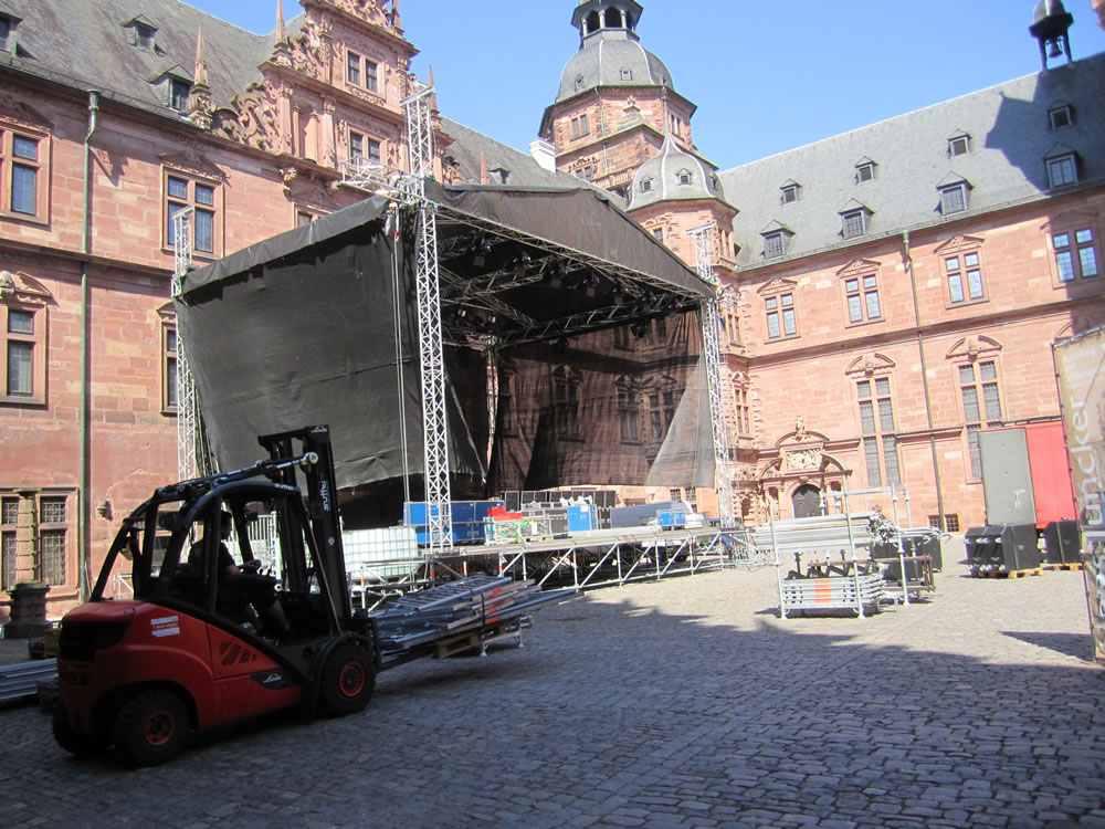 stage in courtyard of Aschaffenburg Castle