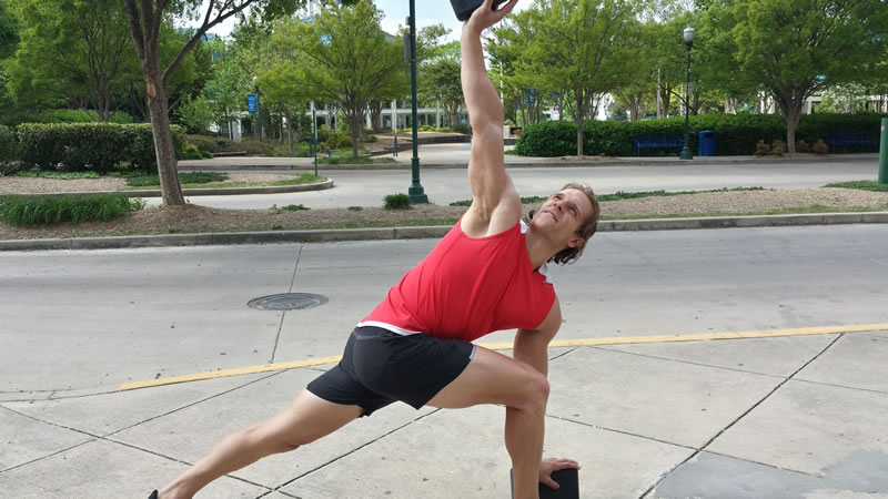 Trainer Kyle House takes my workout outdoors. He likes to mix training for clients by incorporating yoga, weights, and cardio in creative and fun ways.